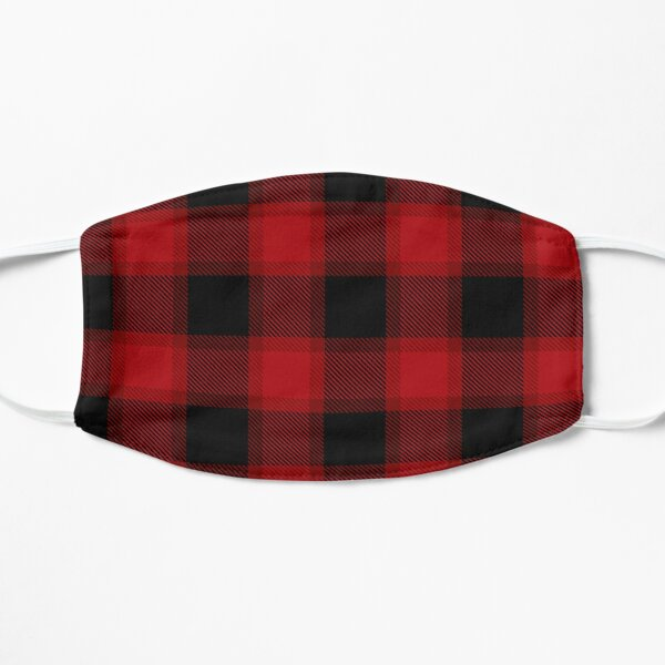 Red and Black Plaid Pattern Flat Mask