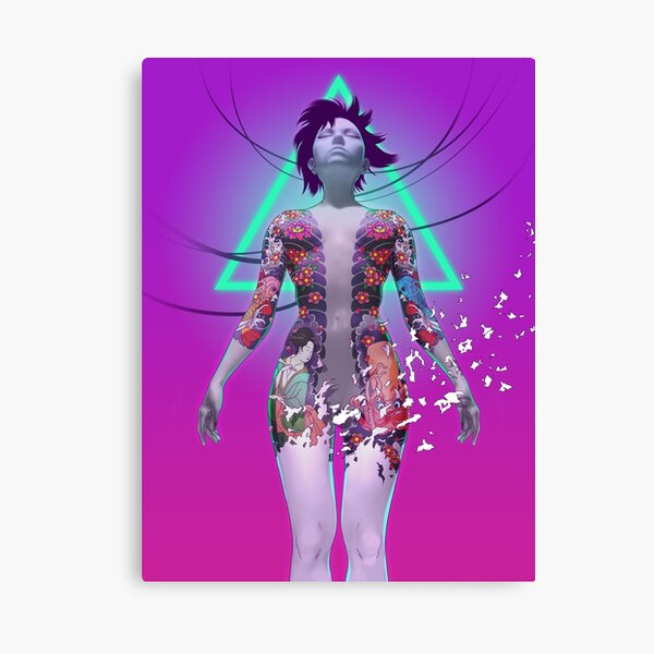 Ghost In The Shell Japanese Anime Fan Art Cyberpunk Vaporwave Aesthetic Canvas Print By Mrocco Redbubble