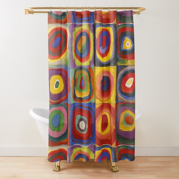 Kandinsky Squares With Concentric Circles Shower Curtain