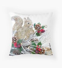 Christmas Tree Wood Squirrel Decoration Vintage Rustic Throw Pillow