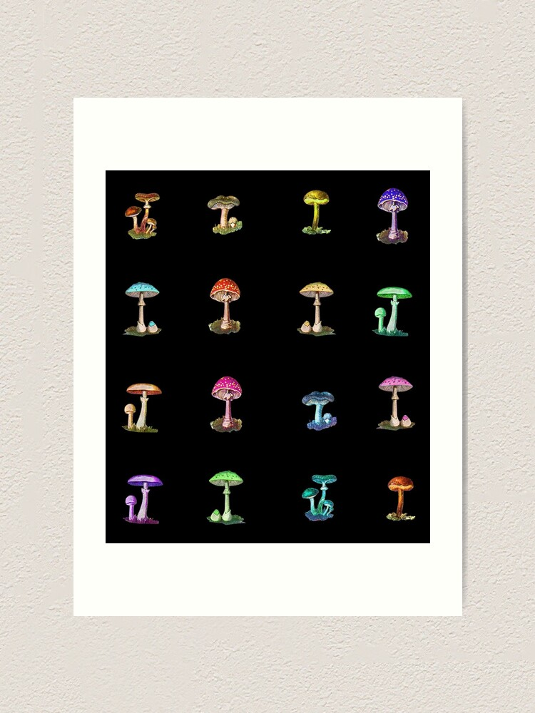 Alternate view of Colorful Magic Mushrooms on Black Art Print