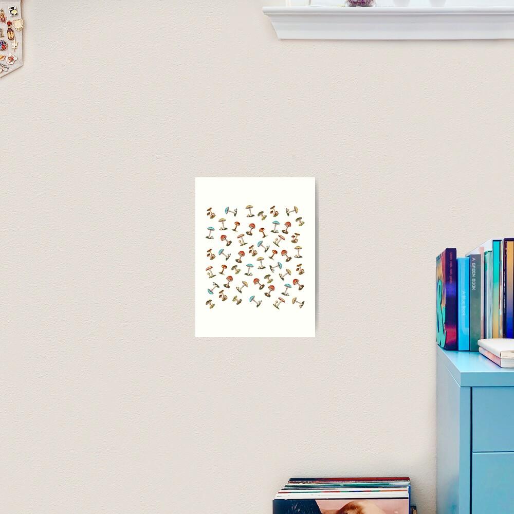 Electric Magic Mushrooms on White Art Print
