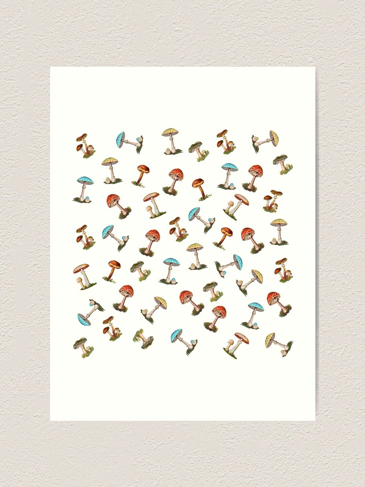 Alternate view of Electric Magic Mushrooms on White Art Print