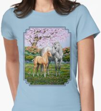 Quarter Horse Mare and Foal Blue Border T-Shirt
