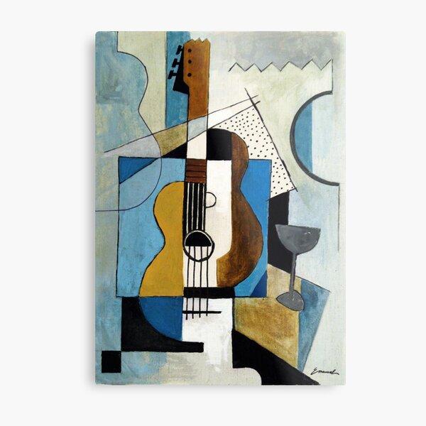 Guitar cubist art painting music gift Metal Print