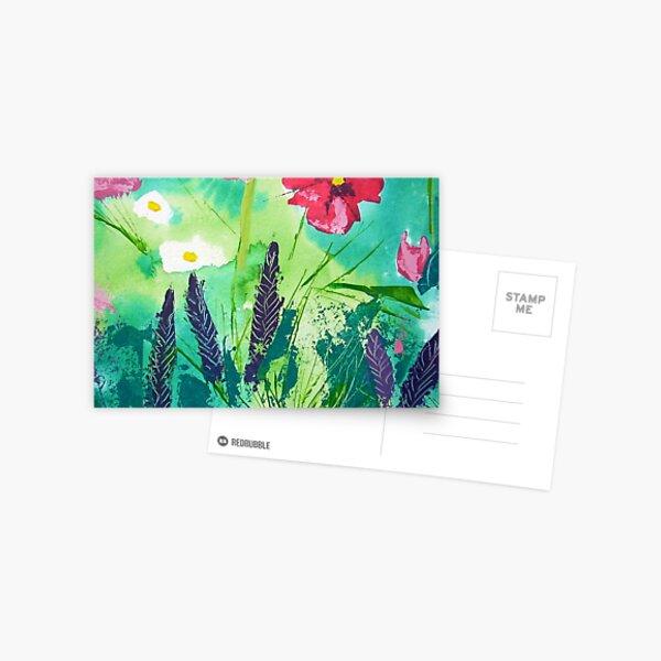 Meadow Flowers, Acrylic painting Postcard
