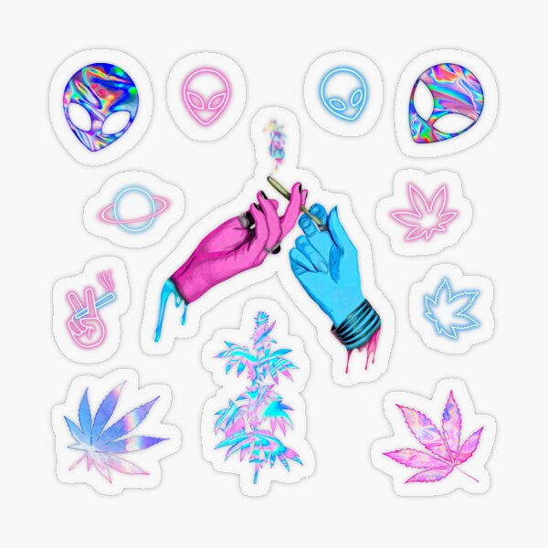 Aesthetic Alien Stoner ~ Holo Neon Watercolor Pattern and Transparent Sticker Sheet Bundle Pack ~ Collection Set 1 Transparent Sticker