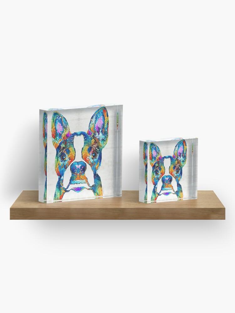 Alternate view of Colorful Boston Terrier Dog Pop Art - Sharon Cummings Acrylic Block