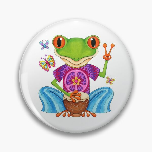 Peace Frog - Colorful Hippie Frog Art by Thaneeya McArdle Pin