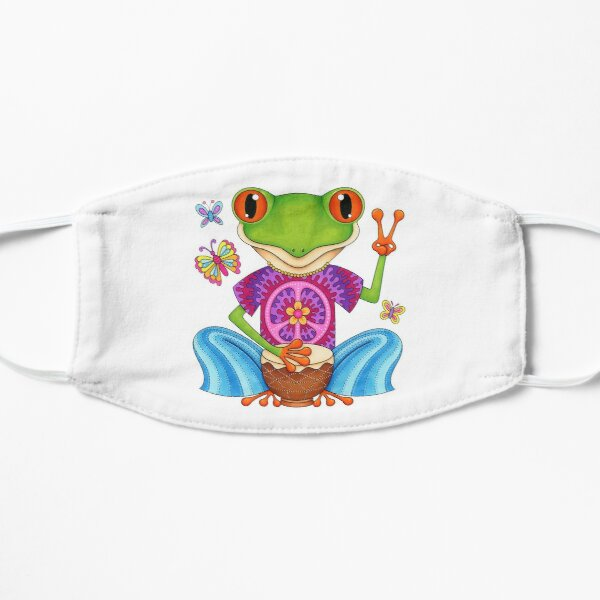 Peace Frog - Colorful Hippie Frog Art by Thaneeya McArdle Flat Mask