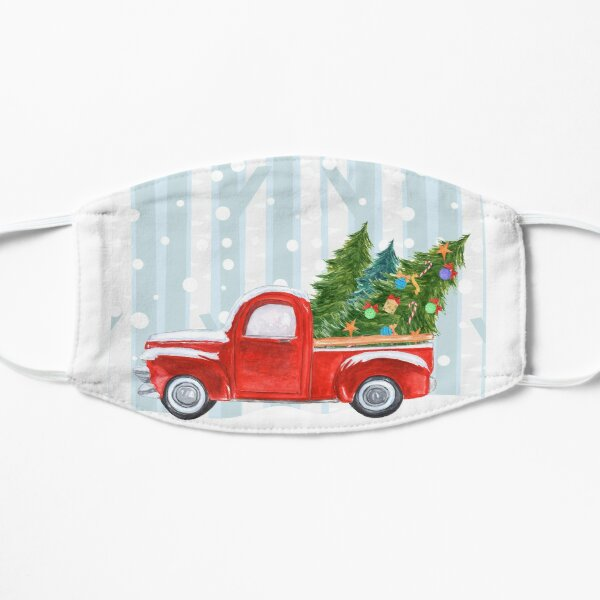 Red PickUp Truck Snowy Background Mask
