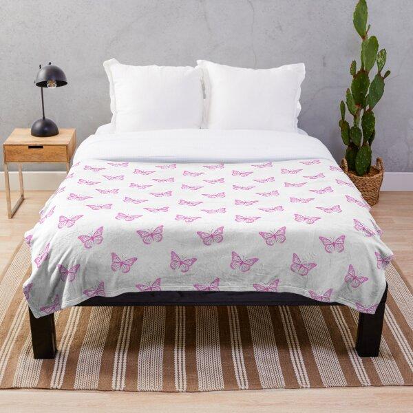 Minimalist Pink Butterflies on White Throw Blanket