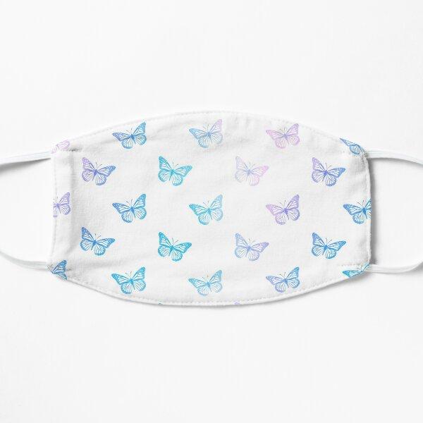 Minimalist Pastel Blue Butterflies on White Mask