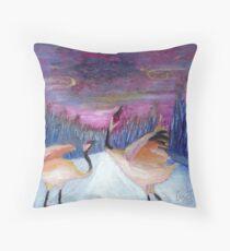 Love Cranes at Play Throw Pillow