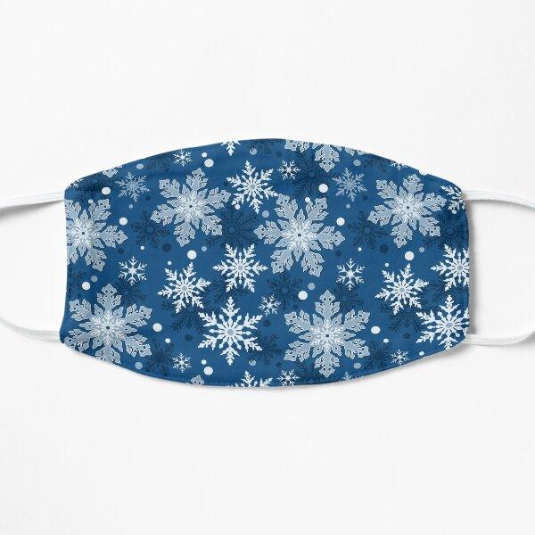 Whimsical Classic Blue Snowflake Pattern Winter Flat Mask