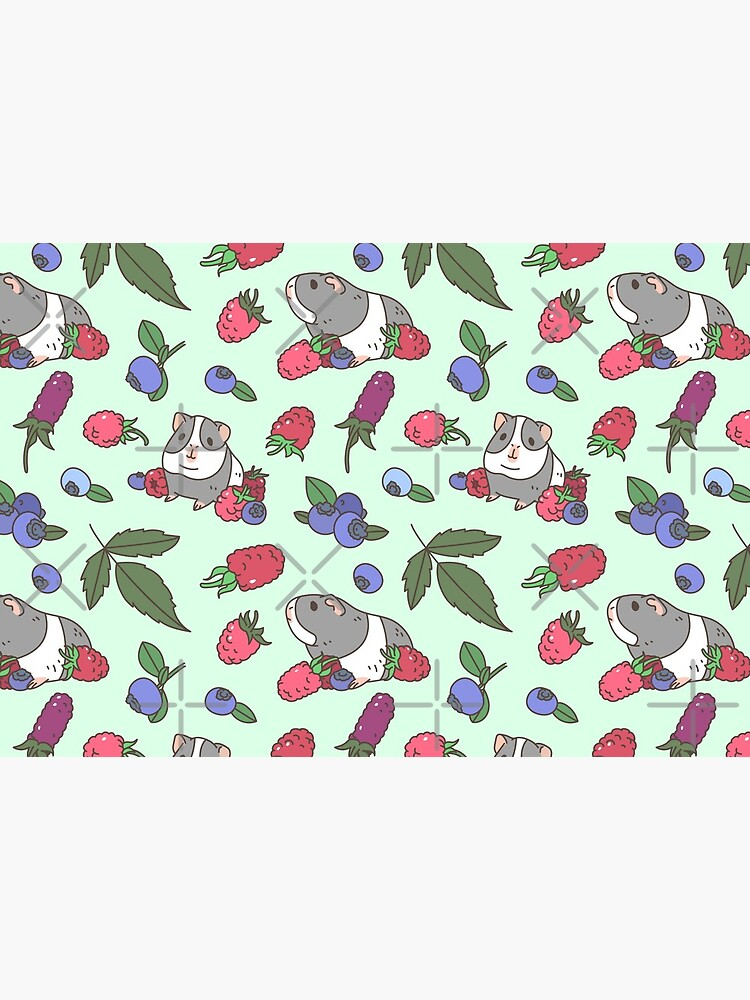 Gray Guinea pig, raspberries and blueberries pattern in mint background  by Miri-Noristudio