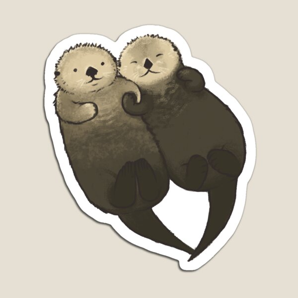 Significant Otters - Otters Holding Hands Magnet