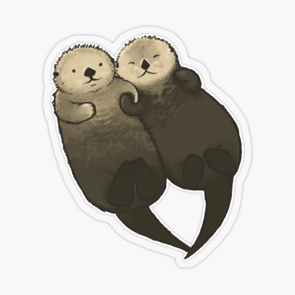 Significant Otters - Otters Holding Hands Transparent Sticker