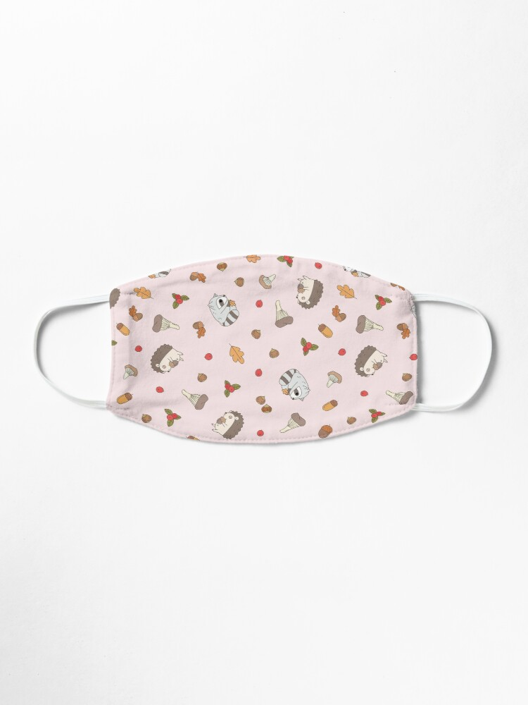 Alternate view of woodland animals pattern, hedgehog and raccoon pattern  Mask