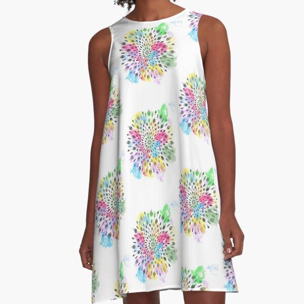 Feather mandala watercolor design.  A-Line Dress