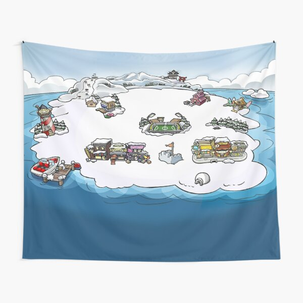 Club Penguin Map Tapestry