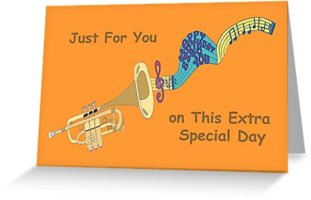 Happy Birthday Trumpet Playing Birthday Song Greeting Cards By