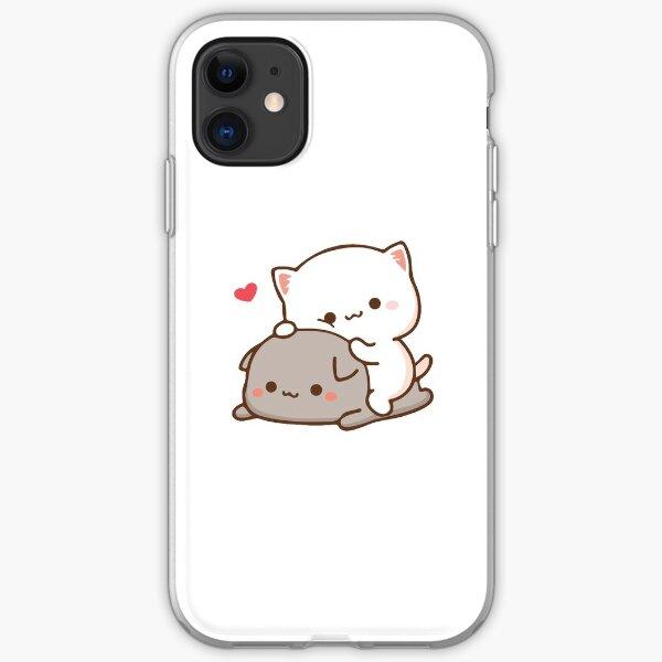 Peach sitting on Goma - Mochi Peach Cat iPhone Soft Case