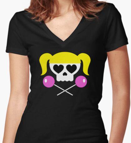 Lollipop Chainsaw She Skull Women's Fitted V-Neck T-Shirt