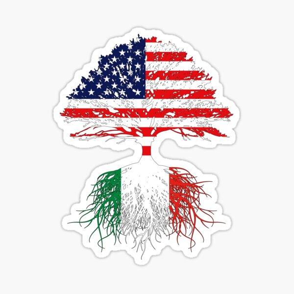 Italian Roots, Italian American, Italy Grown, Italy USA Flag, Art Design Gift Present For Men Women Kids Youth Family Sticker