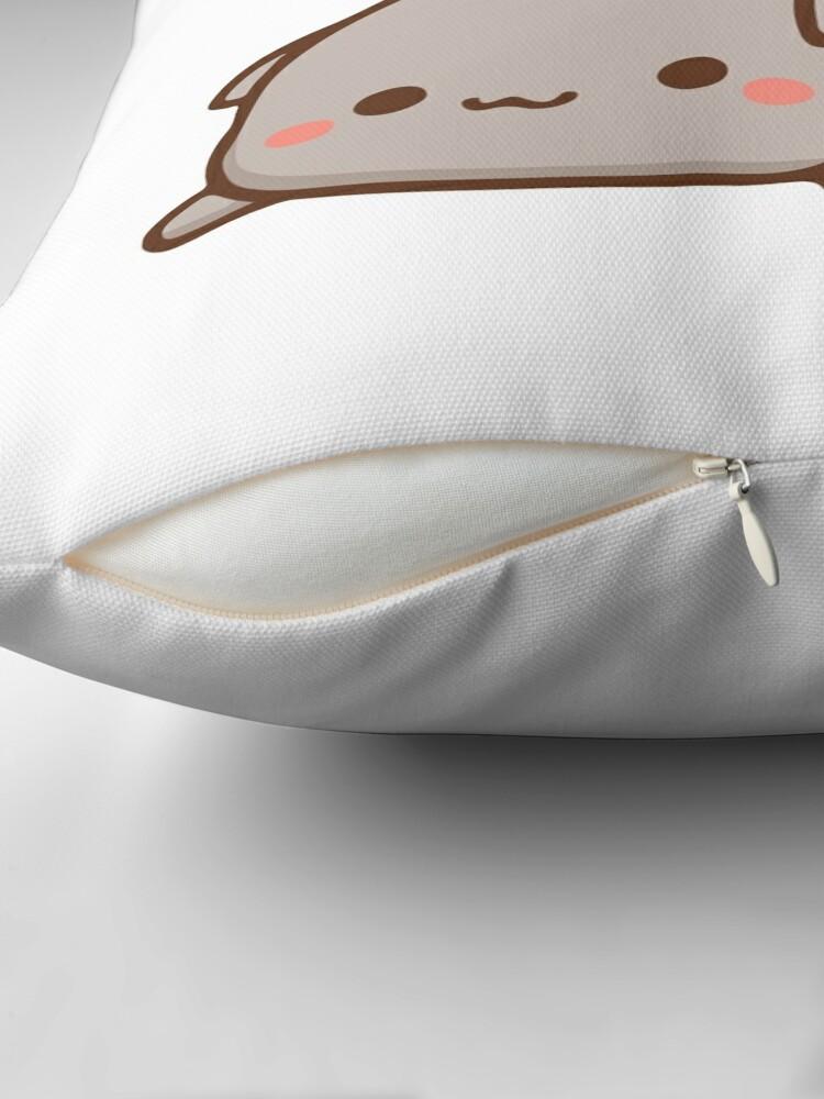 Alternate view of Peach sitting on Goma - Mochi Peach Cat Throw Pillow