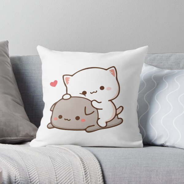 Peach sitting on Goma - Mochi Peach Cat Throw Pillow