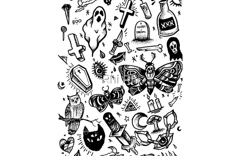 Quot Spooky Tattoo Flash Sheet Quot Laptop Skins By Rhi Rhi