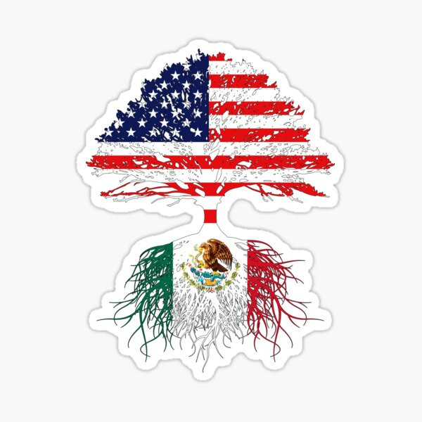 Mexican Roots, Mexican American, Mexico Grown, Mexico USA Flag, Mexico Art Design For Men Women Kids Youth Family Sticker