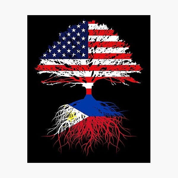 Filipino Roots,  Filipino American, Filipino Grown, Philippines USA Flag, Art Design Present Gift Men Women Kids Youth Family Photographic Print