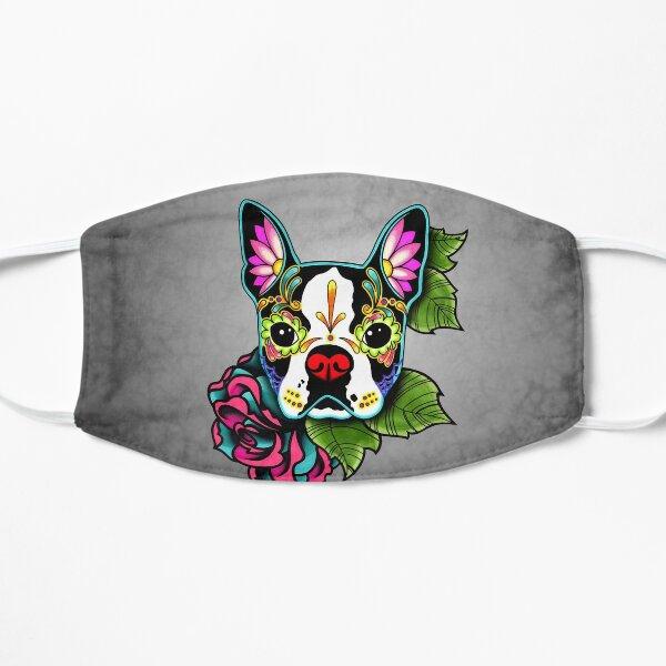 Boston Terrier in Black - Day of the Dead Sugar Skull Dog Flat Mask