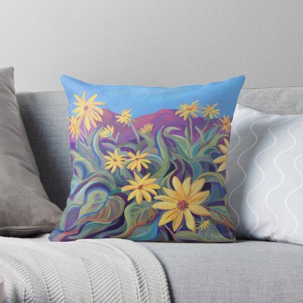 Yellow Balsam Root Throw Pillow