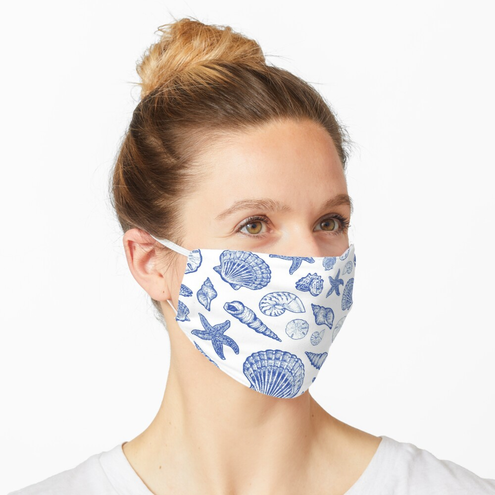 Blue Seashell Print Mask
