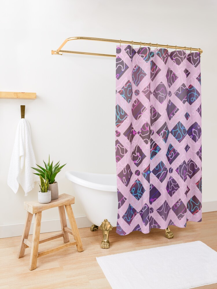 Alternate view of Stained Glass Moasic Pastel Artwork Shower Curtain