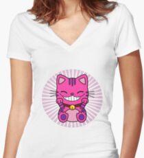 maneki cheshire Women's Fitted V-Neck T-Shirt