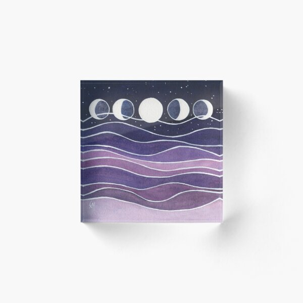 Purple Mountains and Moon Acrylic Block