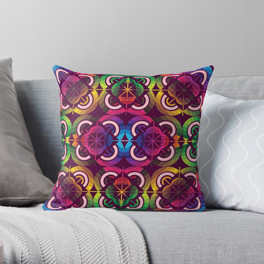 Wild Psychedelic Rainbow Colorful Throw Pillow