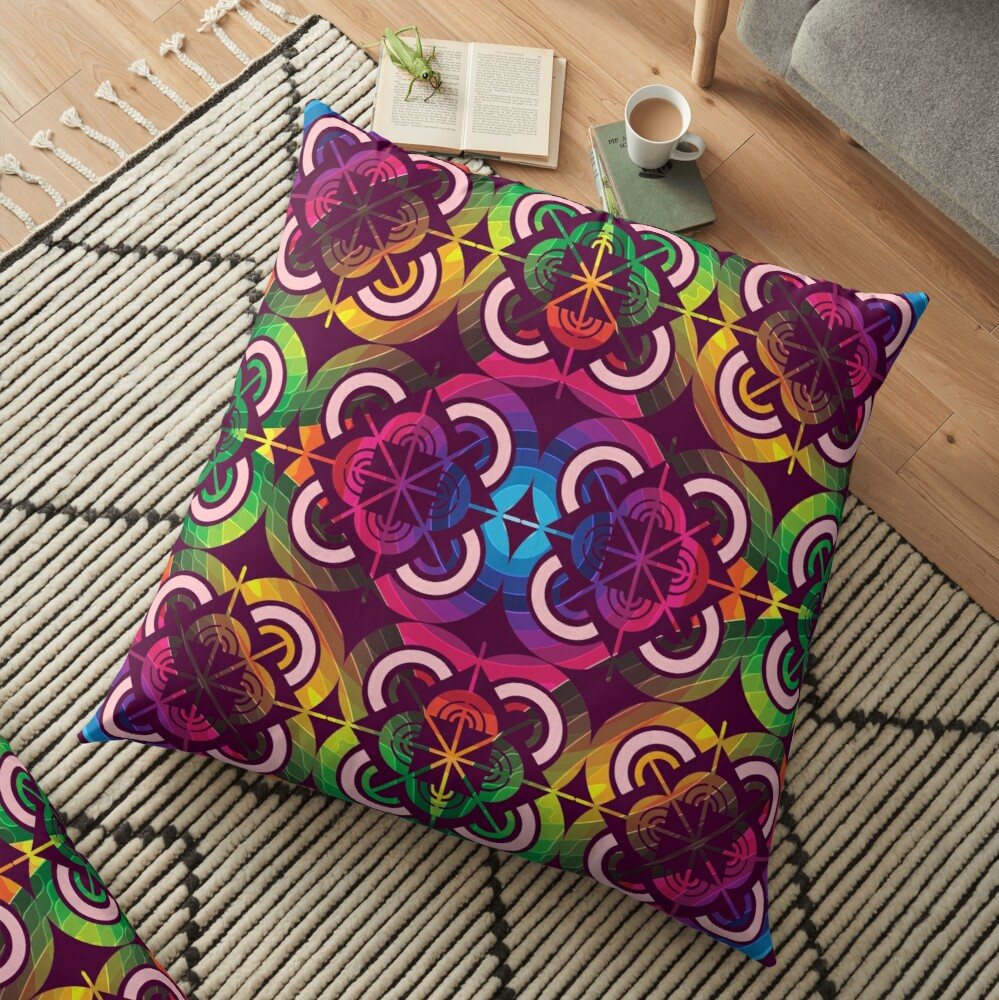 Wild Psychedelic Rainbow Colorful Escape Floor Pillow