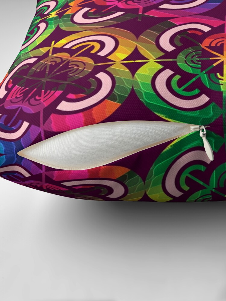 Alternate view of Wild Psychedelic Rainbow Colorful Escape Floor Pillow