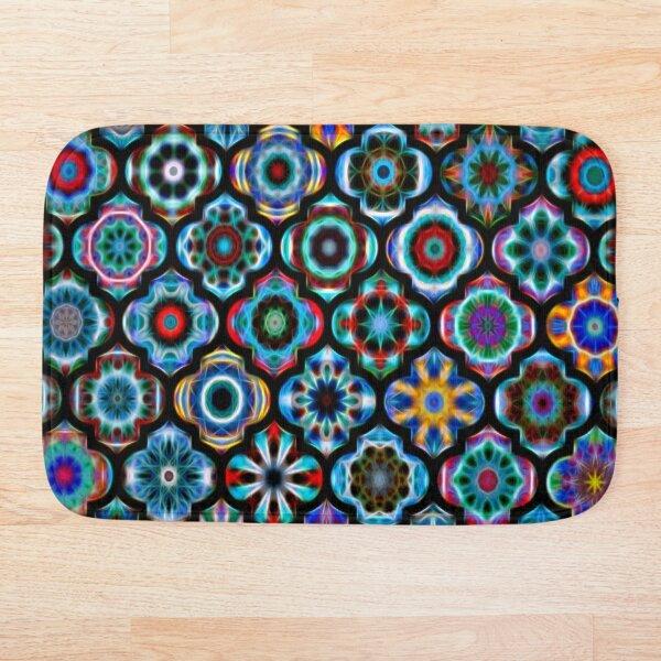 Moroccan tile glowing pattern Bath Mat