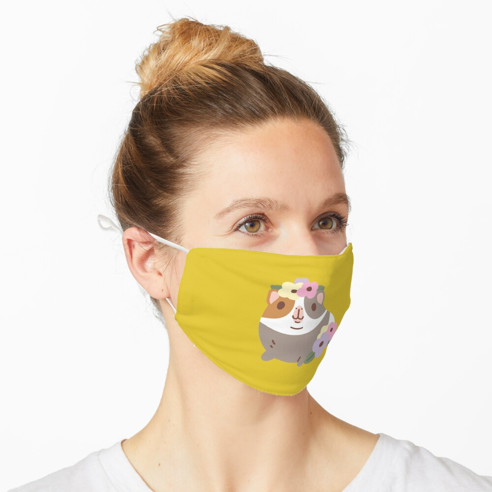 Guinea pig and flowers Pattern  Mask