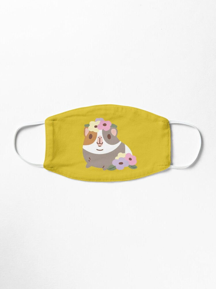 Alternate view of Guinea pig and flowers Pattern  Mask