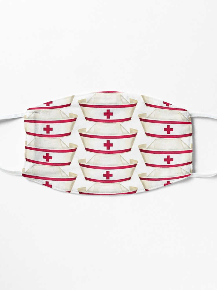 Alternate view of Red and White Nursing  Mask