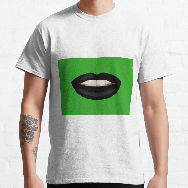 Mouth Teeth Smile Black Lips Green Bg Classic T-Shirt