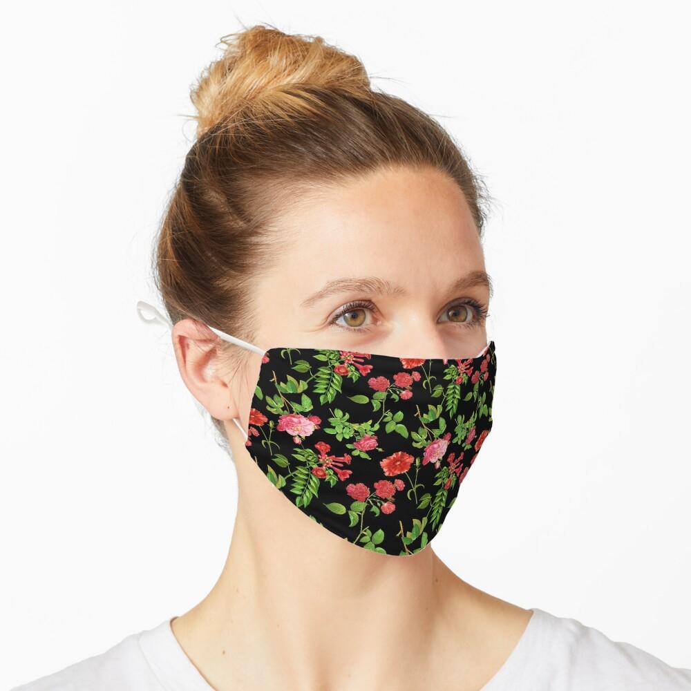 Pink Roses on a Black Background Mask
