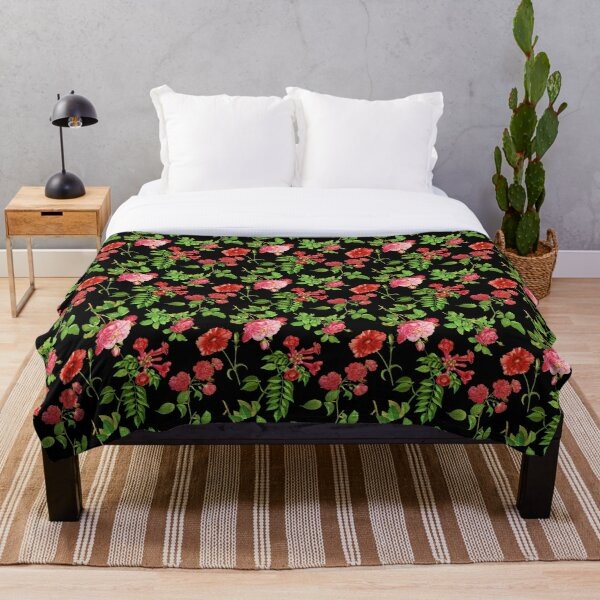 Pink Roses on a Black Background Throw Blanket